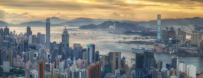 Hongkong en Kowloon royalty-vrije stock afbeelding