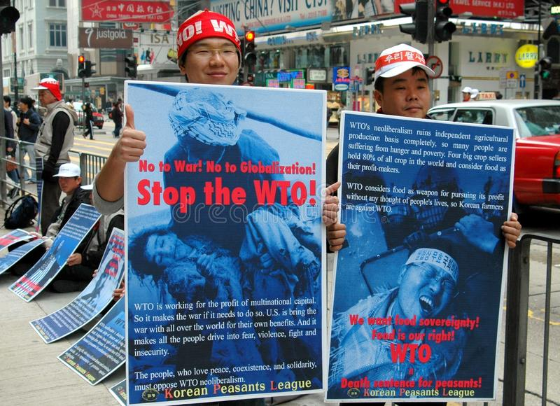 Hongkong: Koreanen die WTO Vergadering protesteren stock foto's