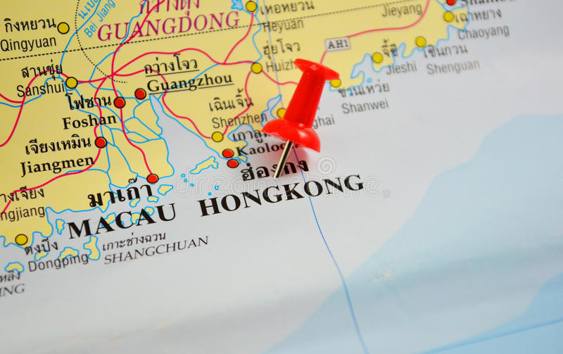 Hongkong map. Macro shot of hongkong map with push pin royalty free stock image