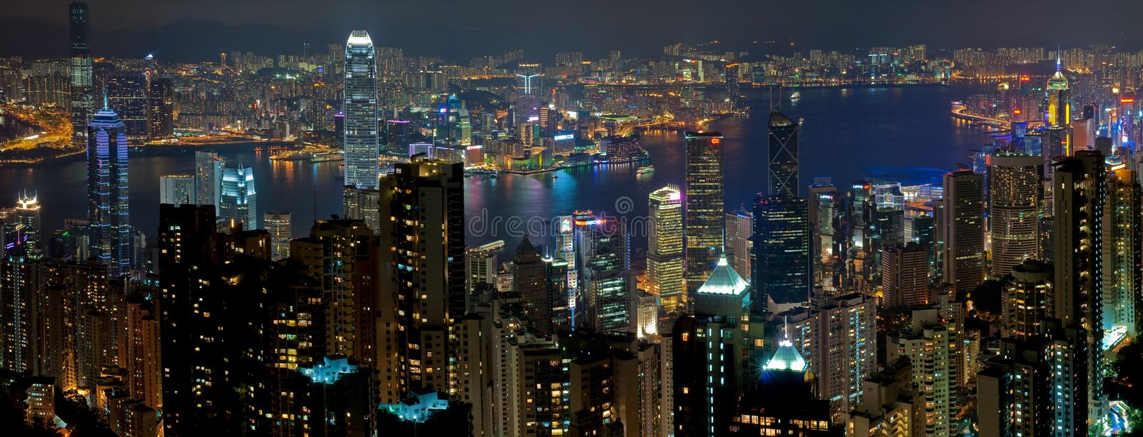 HongKong Night. Panoramic views of Victoria Harbour at night,including all the famous buildings.Taken on Victoria Peak.Hongkong,Asia stock photo