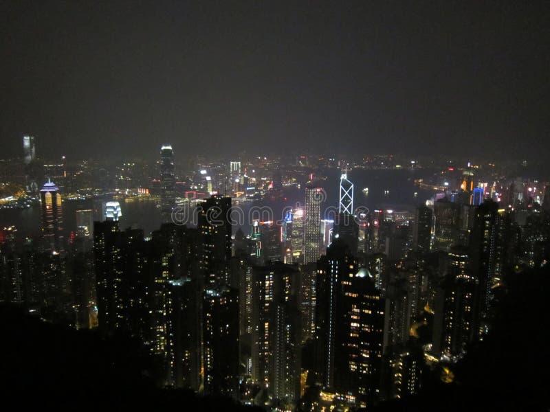 Hongkong 2018night; de horizon van Hongkong royalty-vrije stock fotografie