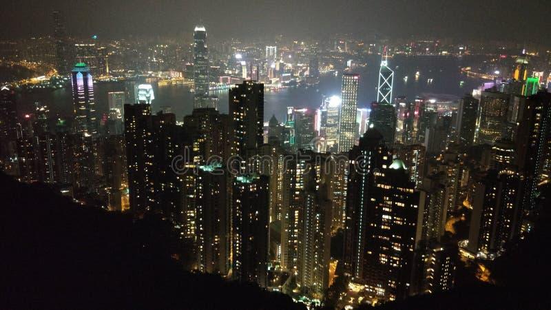 Hongkong 2018night; de horizon van Hongkong royalty-vrije stock afbeelding