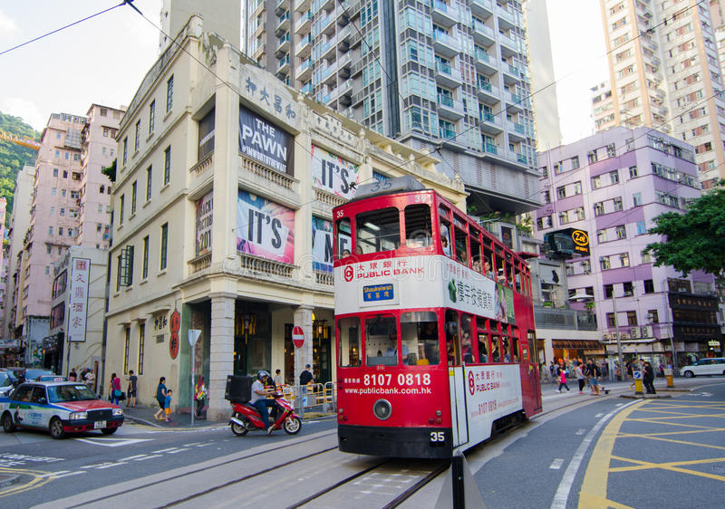 Hongkong. Old city Dingding tram hongkong Waichai stock images