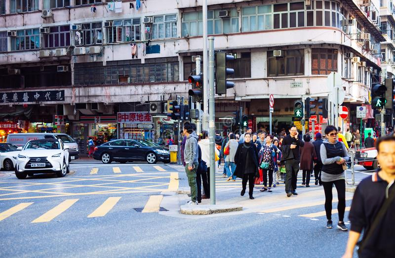 Hongkong street crowds office workers royalty free stock images