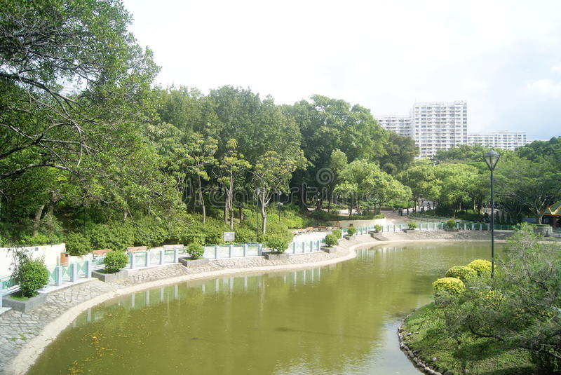 Hongkong Tuen Mun Park jezioro obraz stock