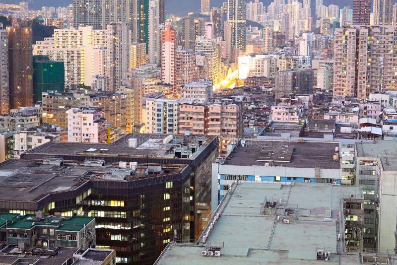 Hongkong urban area. In sunset moment stock image