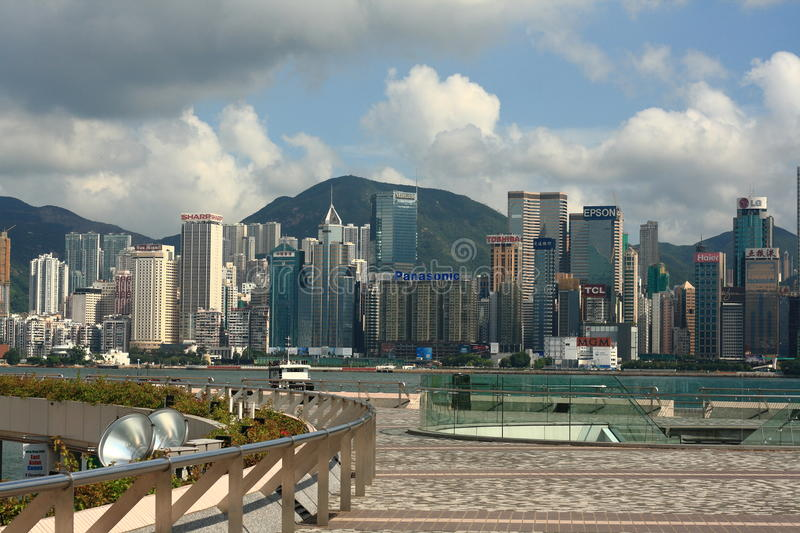 Hongkong Victoria harbor. A famous view site and business center in Hongkong royalty free stock photo