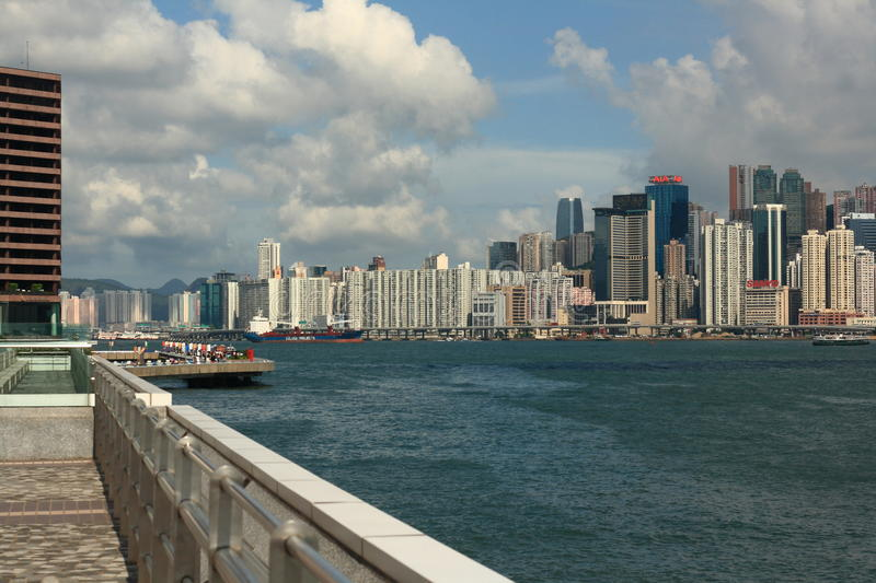 Hongkong Victoria harbor. A famous view site and business center in Hongkong royalty free stock image
