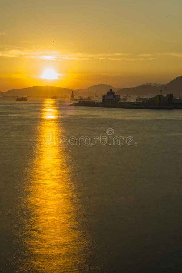 Hongkong Victoria Harbour Sunset royalty-vrije stock foto's