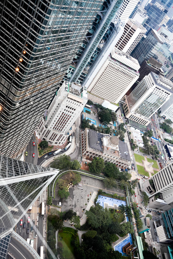 Hongkong view. Bird view the city road traffic buildings scenery of hongkong royalty free stock photos