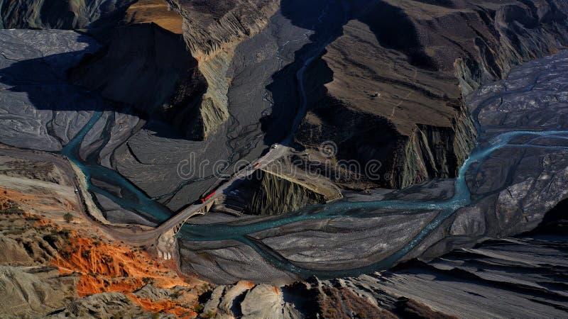 Hongshan Grand Canyon, Xinjiang stock afbeelding