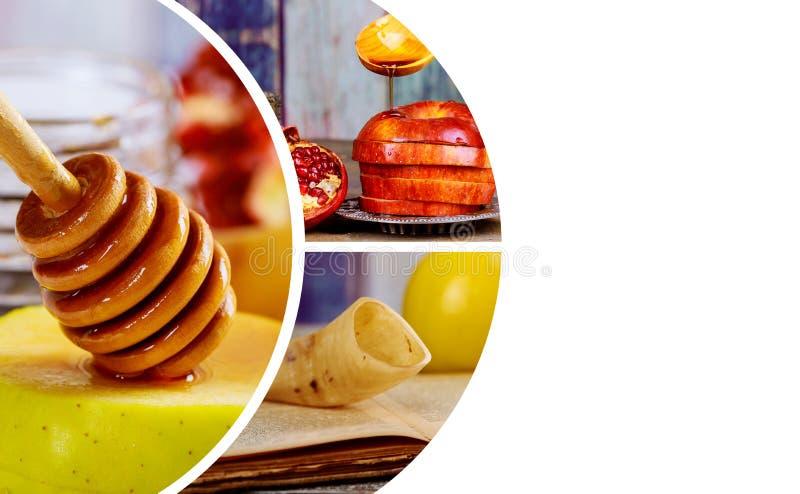 Honig, Apfel und Granatapfel für traditionellen Feiertagssymbole rosh hashanah jewesh Feiertag auf hölzernem Hintergrund lizenzfreie stockfotografie