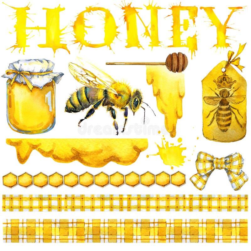 Honig, Bienenwabe, Honigbiene Stellen Sie für Designaufkleberprodukte vom Honig ein Dekoratives Bild einer Flugwesenschwalbe ein  stock abbildung