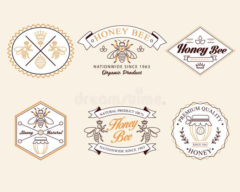 Honig und Bienen vector Ausweise und Aufkleber für irgendwelche stock abbildung