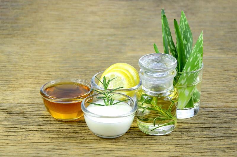 Honig, Zitrone, Rosmarin verlässt, griechischer Jogurt, Aloevera-Blätter lizenzfreies stockfoto