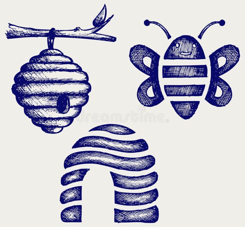 Honigbienen und -bienenstock stock abbildung