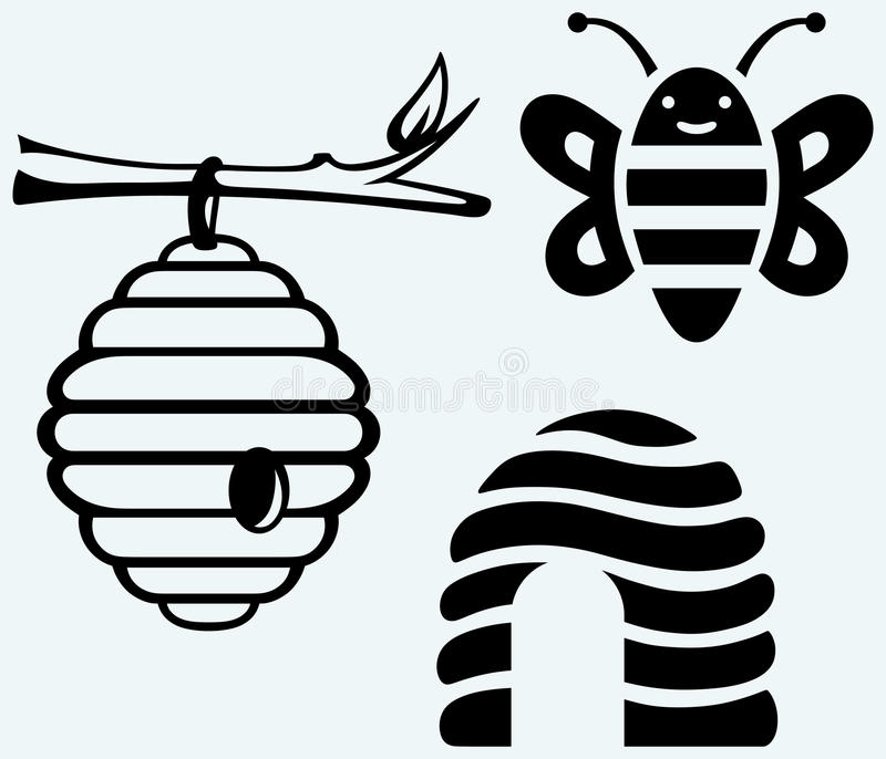 Honigbienen und -bienenstock vektor abbildung