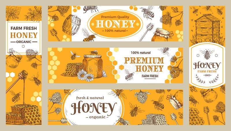 Honigfahne Gesunde Bonbons, natürlicher Bienenhonigtopf und Fahnenvektorsammlung der Bienenlandwirtschaftlichen produkte stock abbildung