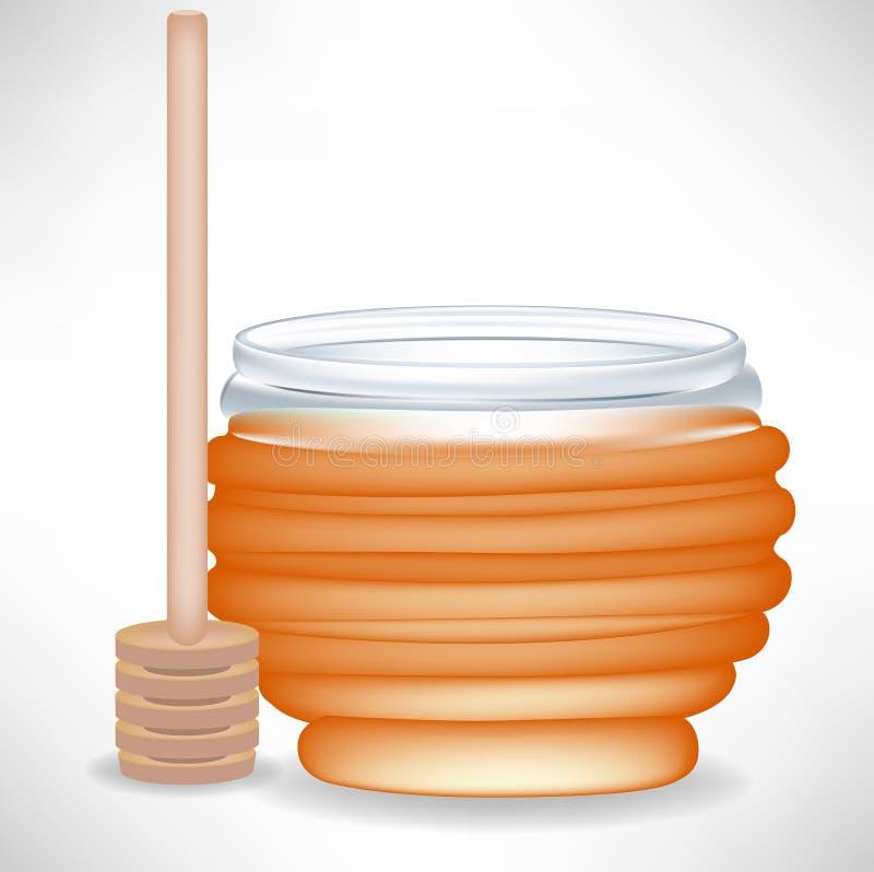 Honigglas mit Nieselregen lizenzfreie abbildung