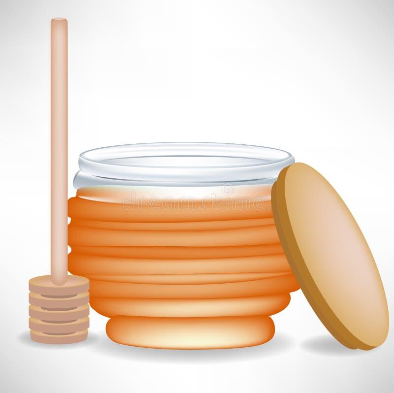 Honigglas mit Nieselregen und Schutzkappe stock abbildung