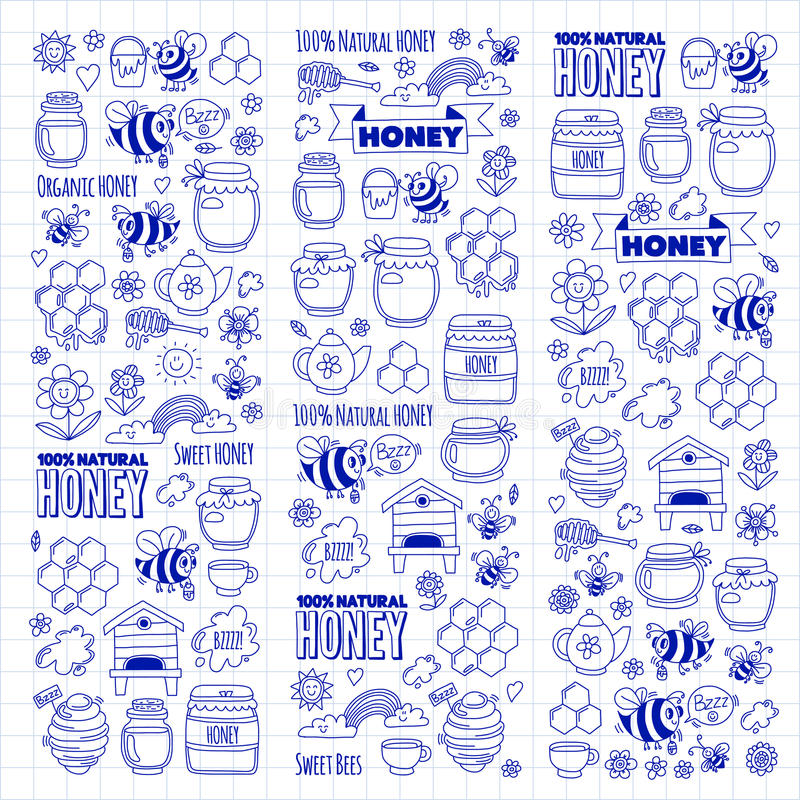 Honigmarkt, Basar, Honig angemessene Gekritzelbilder von Bienen, Blumen, Gläser, Bienenwabe, Bienenstock, Stelle, das Fass mit Be lizenzfreie abbildung