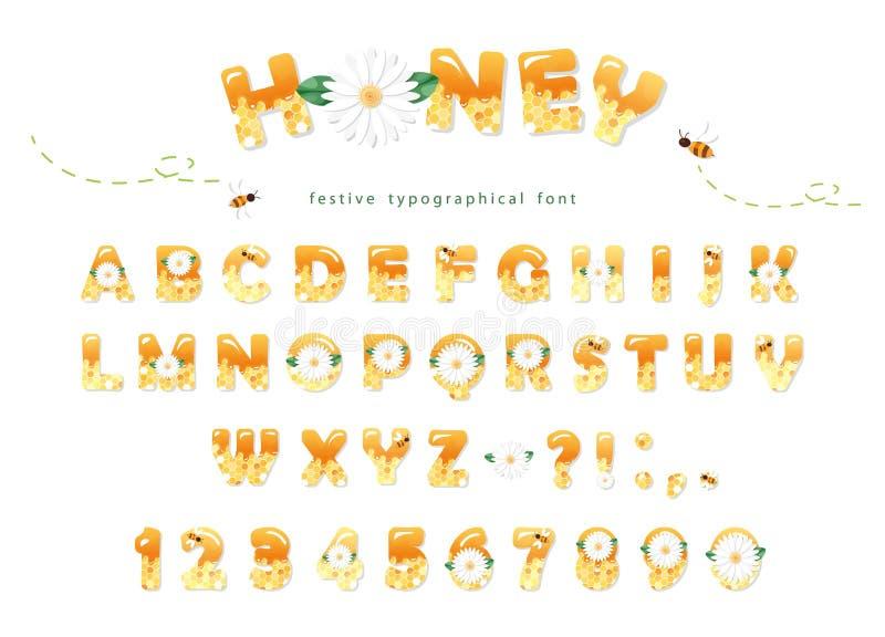 Honigschriftart Glatte süße ABC-Buchstaben und -zahlen lokalisiert auf Weiß vektor abbildung