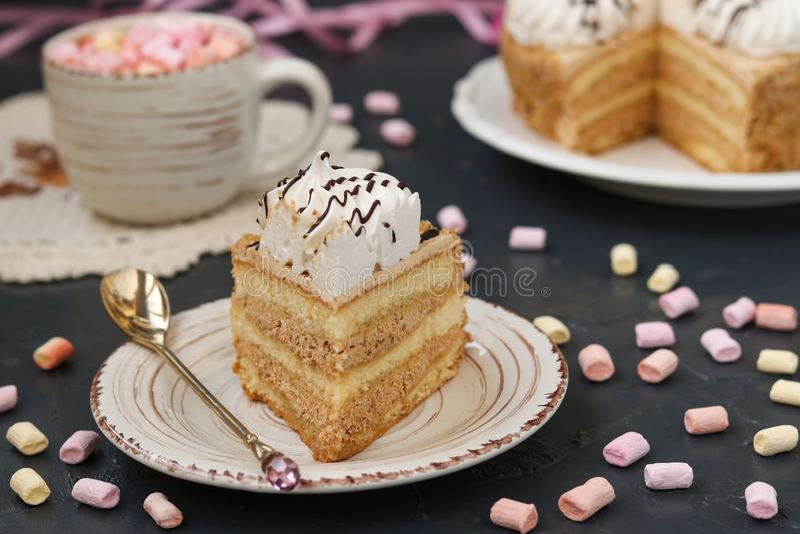 Honigschwammkuchen mit der Buttercreme gelegen auf einem dunklen Hintergrund stockbilder