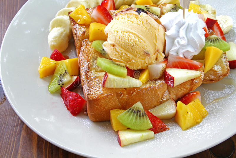 Honigtoast fruchtig stockbilder