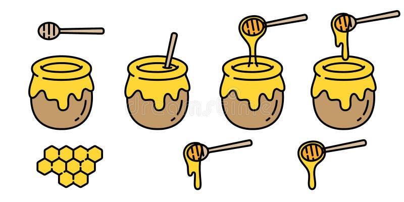 Honigvektorbärnbieneneisbär-Lebensmittelbäckerei backen Staucharakter-Karikaturillustration lizenzfreie abbildung