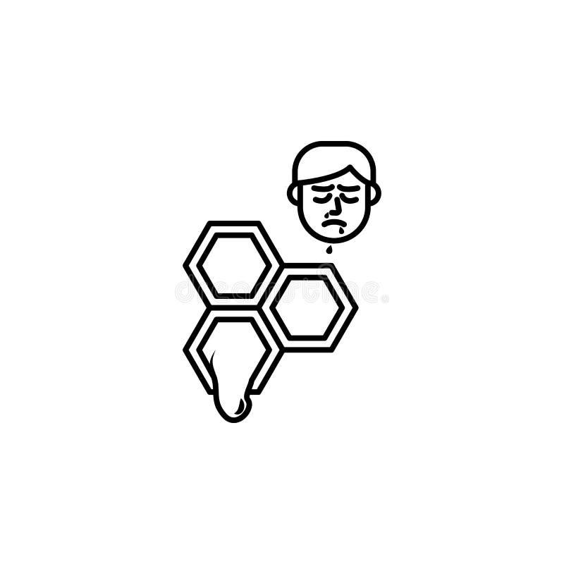 Honing, allergisch gezichtspictogram Element van problemen met allergieënpictogram Dun lijnpictogram voor websiteontwerp en ontwi vector illustratie