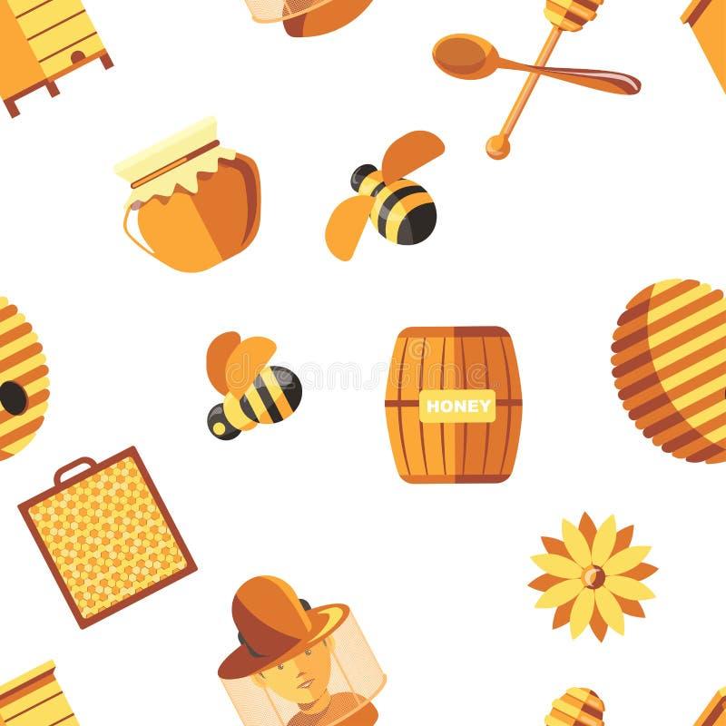Honing en bijen, imker die beschermend kostuum naadloos die patroon dragen op witte vector wordt geïsoleerd vector illustratie