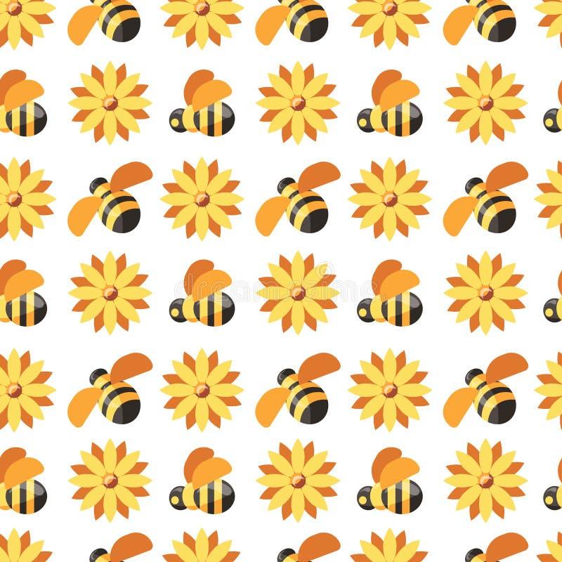 Honing en bijen, imker die beschermend kostuum naadloos die patroon dragen op witte vector wordt geïsoleerd royalty-vrije illustratie