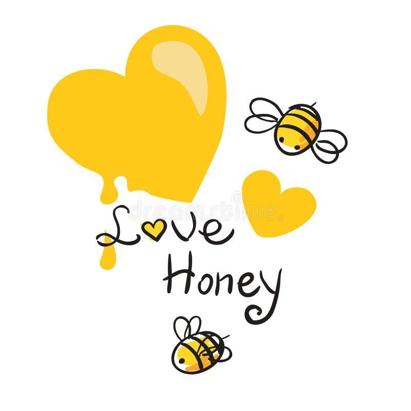 Honing en Bijenvector royalty-vrije illustratie