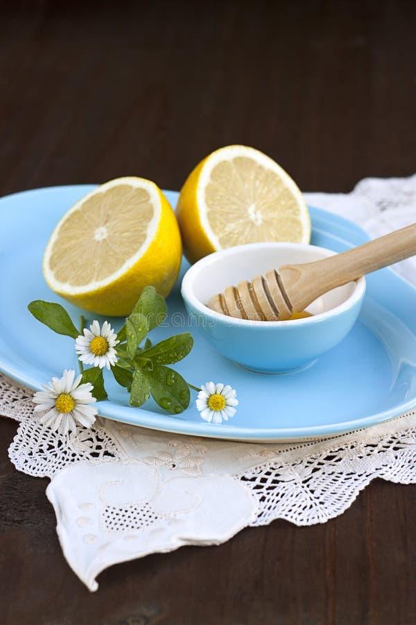 Honing en citroenen royalty-vrije stock foto's
