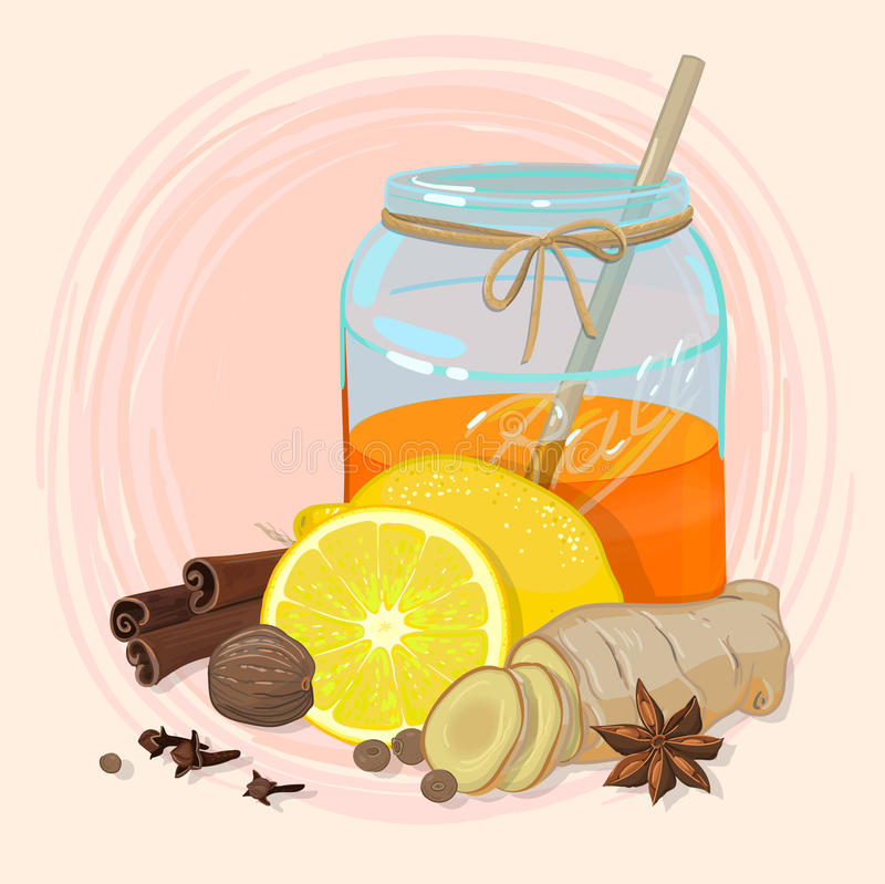 Honing en kruiden stock illustratie