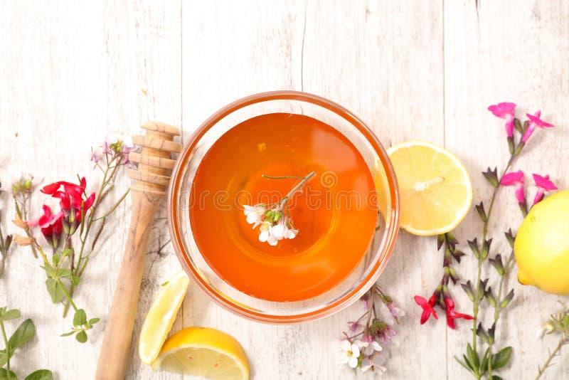 Honing met ingrediënt stock afbeeldingen