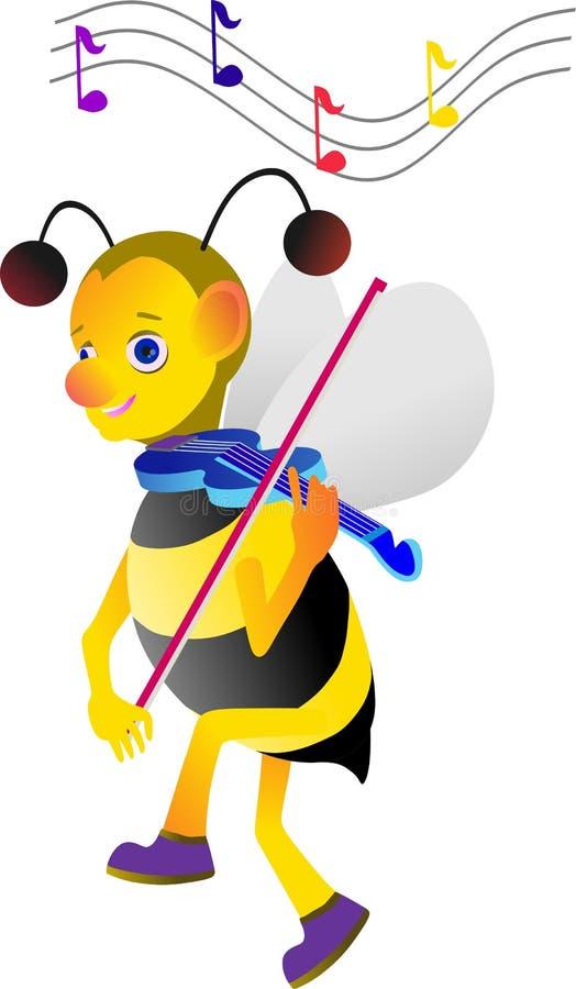 honingbij die de viool voor muziekmelodie spelen royalty-vrije stock afbeeldingen
