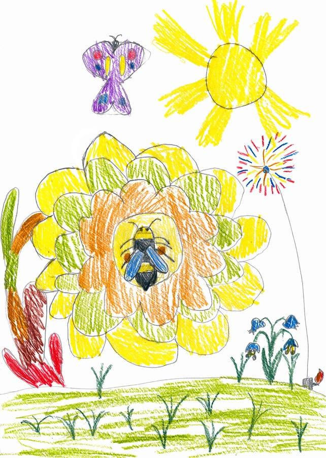 Honingbij op zonnebloem en vlinder. kindtekening stock afbeelding