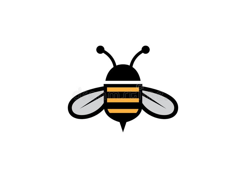 Honingbij open vleugels en vlieg met afluisteraar voor de illustratie van het embleemontwerp royalty-vrije illustratie
