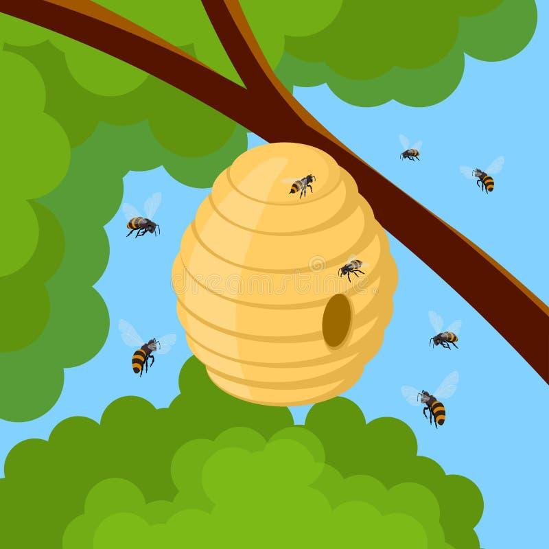 Honingbijen en bijenkorf op boomtak Vectorillustratie van bijenhuis met een cirkelingang Het insectleven in aard royalty-vrije illustratie