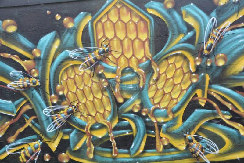 Honingbijgraffiti in SE Portland, Oregon stock afbeeldingen