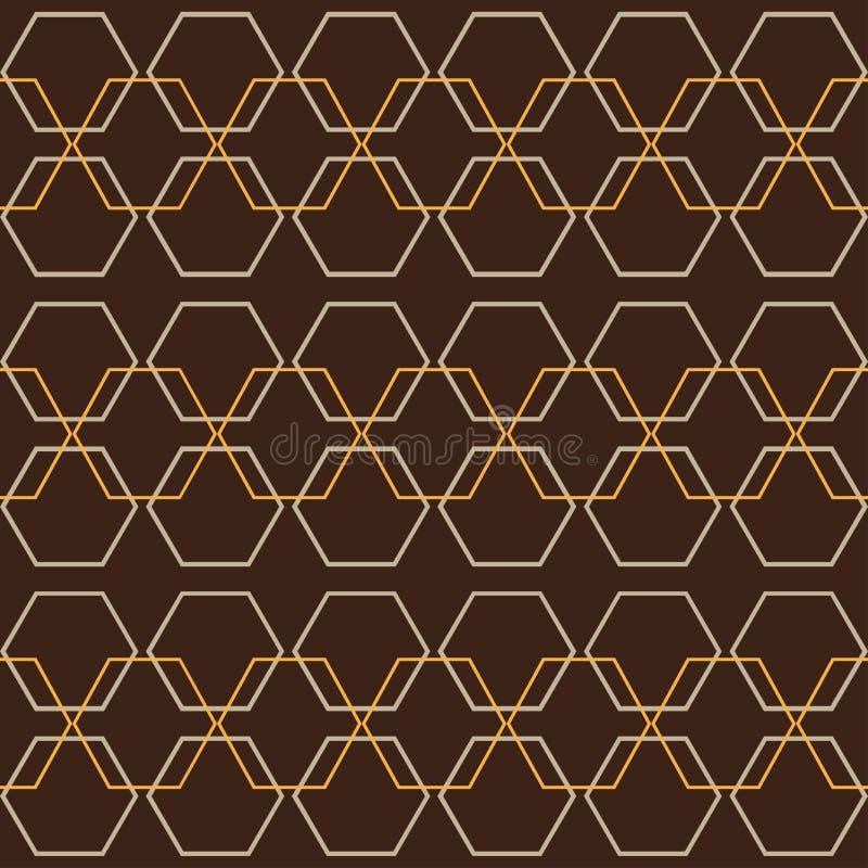 Honingraat Retro Geometrisch Grafisch Naadloos Hexagon Patroon stock illustratie