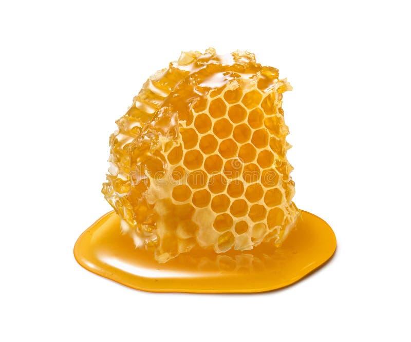 Honingraatstuk Honingsplak op witte achtergrond wordt geïsoleerd die royalty-vrije stock fotografie