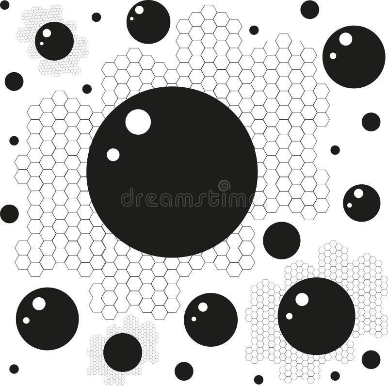 Honingraten en cirkels op een witte achtergrond stock illustratie