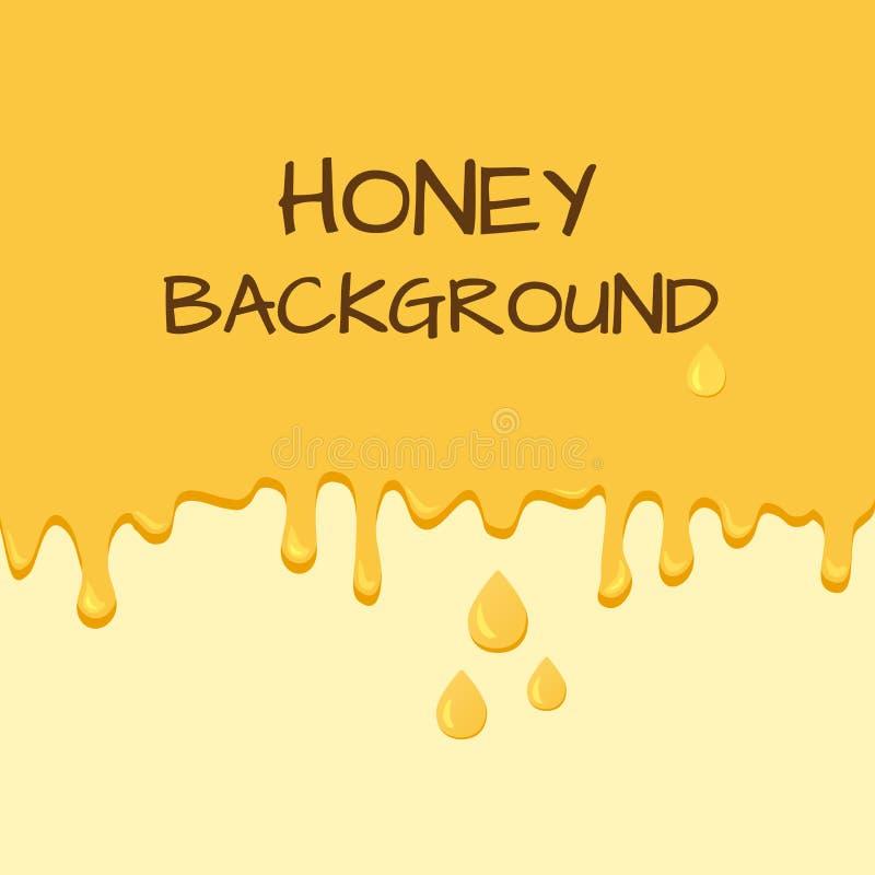 Honingsachtergrond met plaats voor uw tekst Druipende honing en dalingen, stroom neer Vector stock illustratie