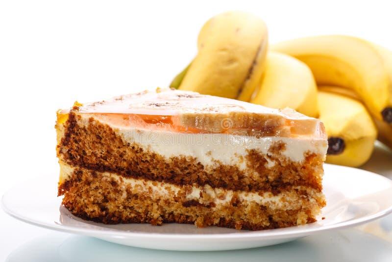 Honingscake met bananen royalty-vrije stock afbeeldingen