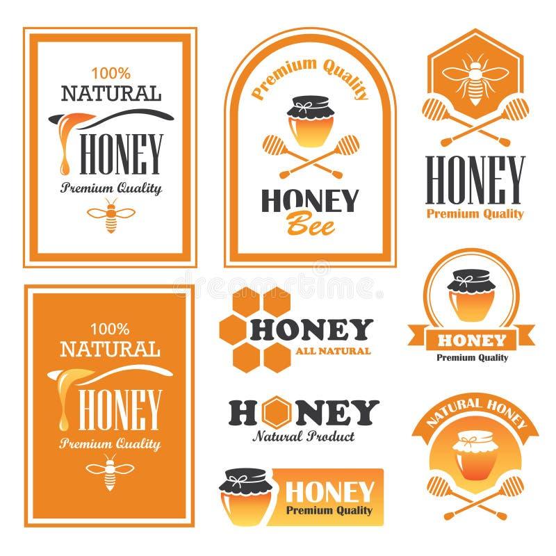 Honingsetiketten stock illustratie