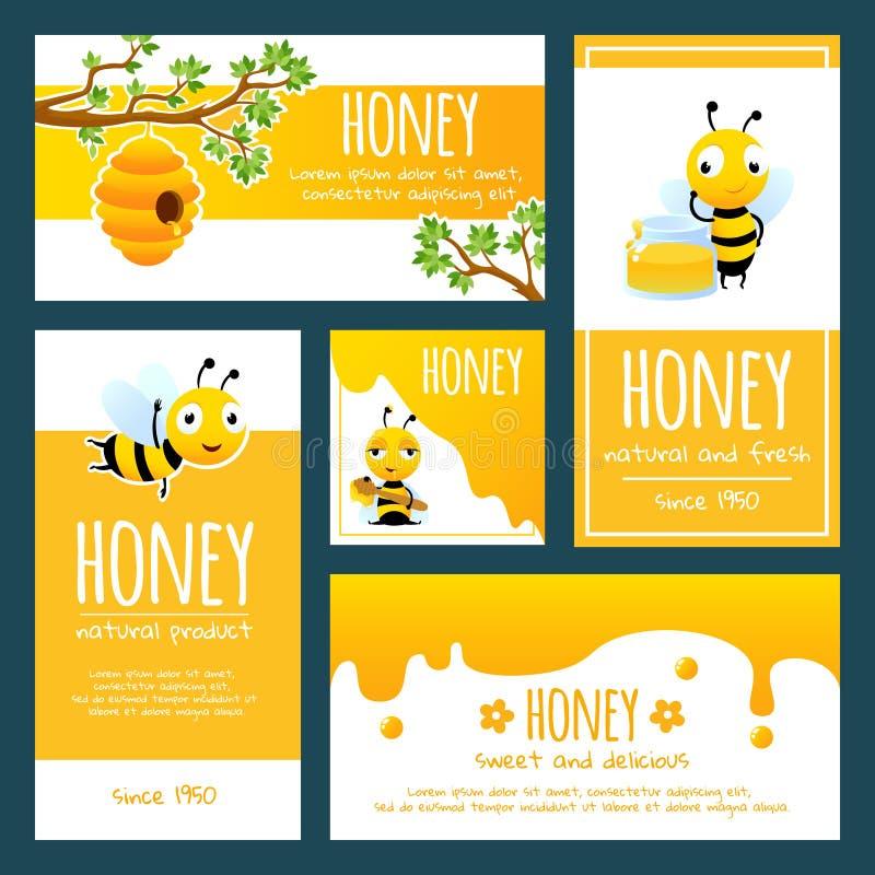 Honingsetiketten Banners of kaartenontwerpmalplaatje met illustraties van bijen en honing stock illustratie