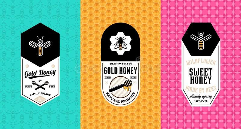 Honingsetiketten, embleem en verpakkingsontwerp royalty-vrije illustratie