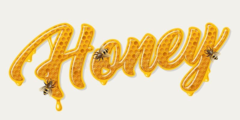 Honingskam het van letters voorzien royalty-vrije illustratie